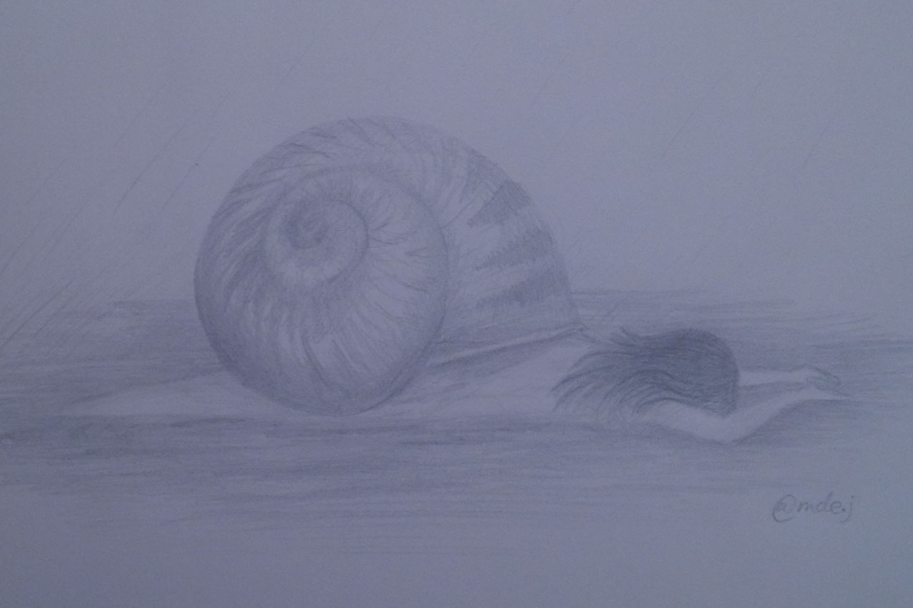 sketch of snail/girl hybrid on blue-grey background