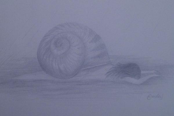 sketch of snail/girl hybrid on blue-grey background