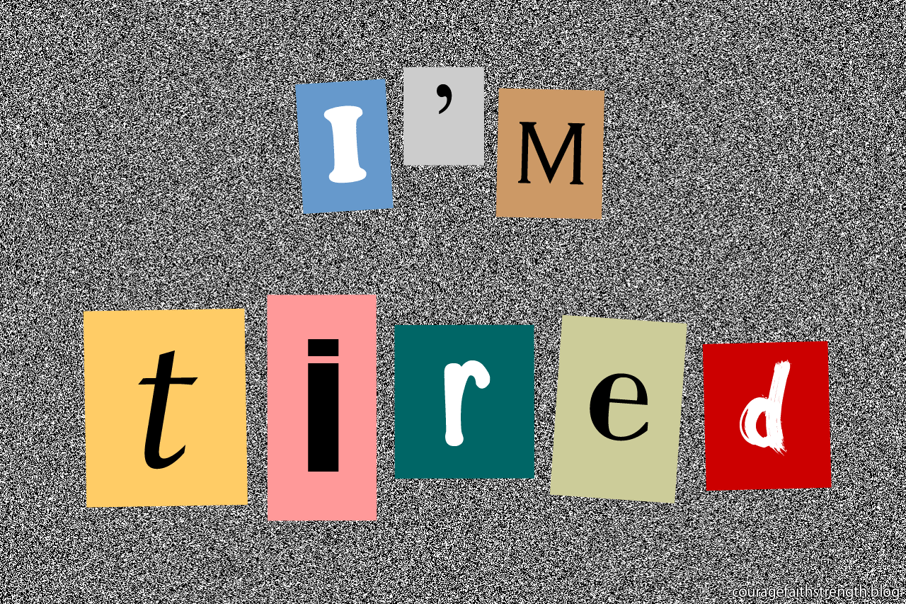 "Coloured squares with letters spell out ""I'm tired"""