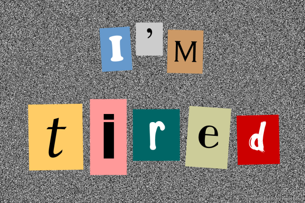 """Coloured squares with letters spell out """"I'm tired"""""""